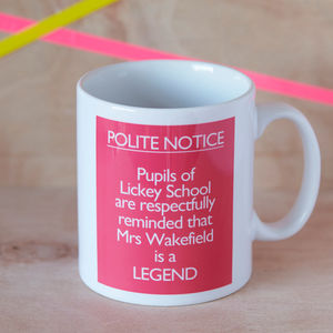 Personalised 'Teacher Is A Legend' Mug - mugs