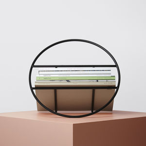 Black Magazine Rack And Record Holder - storage & organisers