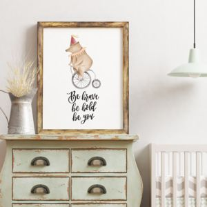 Be Brave Be Bold Be You Circus Print - pictures & prints for children