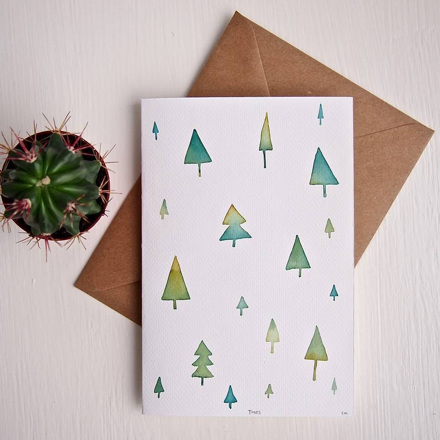 Watercolour Christmas Tree: Handmade Original Watercolour Christmas Trees Card By