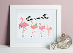 Personalised Family Flamingo Print