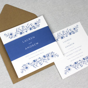 'The Lauren' Elegant Floral Border Wedding Invitation