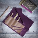 Suede And Leather Pencil Roll