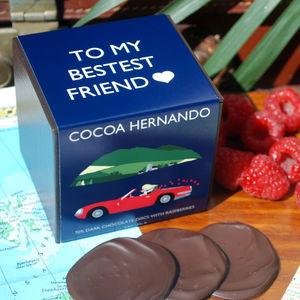Personalised Raspberry Dark Chocolate - gifts for foodies