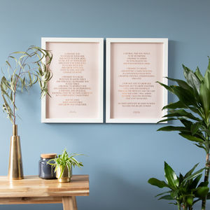 Personalised Couples Metallic Vows Prints Set Of Two