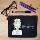 Personalised teacher cotton canvas pencil case