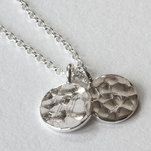 Sterling Silver Engraved Hammered Necklace