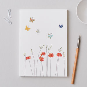 Large A5 Butterflies And Daisies Notebook - whats new
