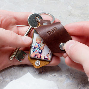 Personalised Metal Photo Keyring With Leather Case - gifts for fathers
