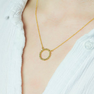 18ct Gold Vermeil Beaded Circle Necklace
