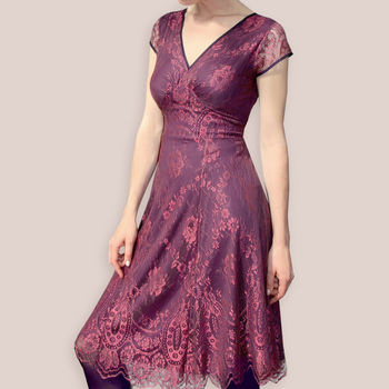 Capped Sleeve Dress Made From Our New Rosewood Lace