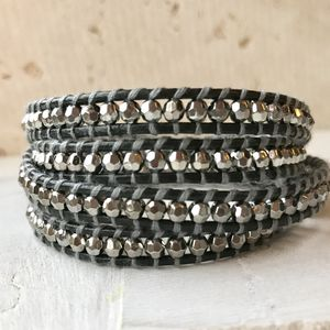 Leather Wrap Charcoal Bracelet - bracelets