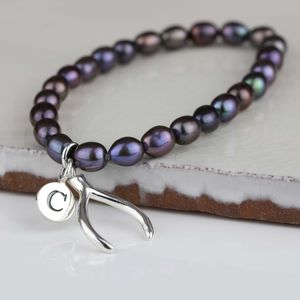 Personalised Black Pearl Wishbone Charm Bracelet - women's jewellery
