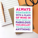 Happy Birthday Remember With A Glass Of Wine Card