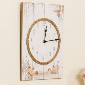 By The Seashore Wood And Rope Wall Clock - kitchen