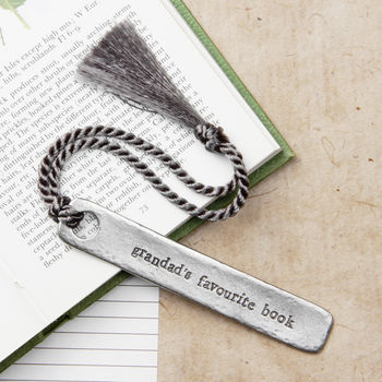 'Grandad's Favourite Book' Bookmark with Grey Cord