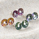 Colourful Paradise Print Small Round Ear Studs