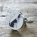 Daddy And Me Border Collie Cufflinks And Dog Tag Set