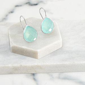 Aqua Chalcedony Heart Earrings In Sterling Silver