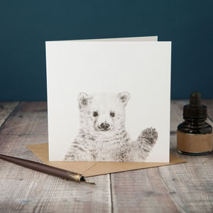 Waving Polar Bear Card