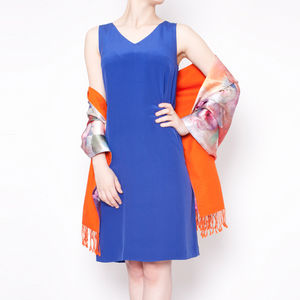 Silk Crêpe De Chine Shift Dress In Cobalt Blue - winter sale