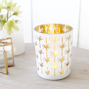 Gold And White Palm Tealight Holder