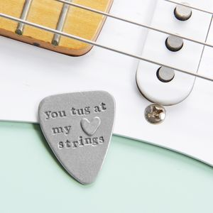 'You Tug At My Heart Strings' Guitar Plectrum - stocking fillers