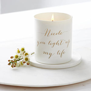 Glow Through Personalised Message Candle - room decorations