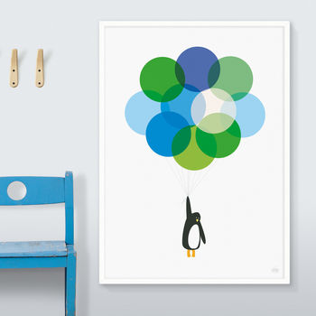 'Mr Penguin With Blue Balloons' Print