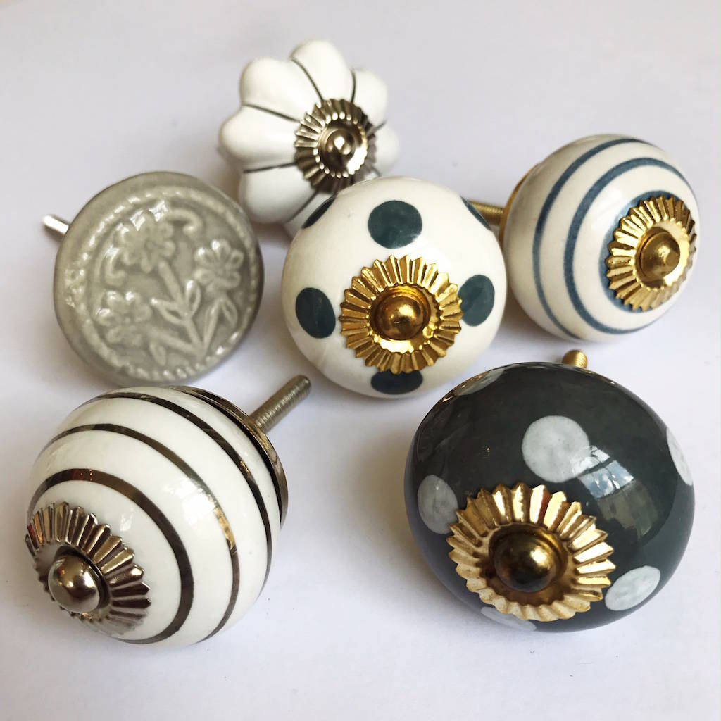 Set Of Assorted Grey And White Drawer Knobs