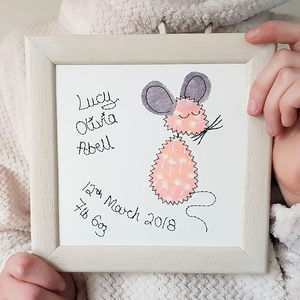 Personalised Baby Mouse Embroidered Framed Artwork - personalised