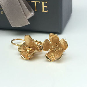 Flower Silver French Wire Earrings