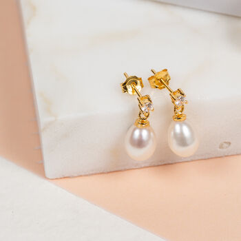 Pearl And Cubic Zirconia Gold Vermeil Drop Earrings