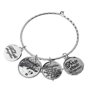Daughter Silver Charm Bangle Bracelet