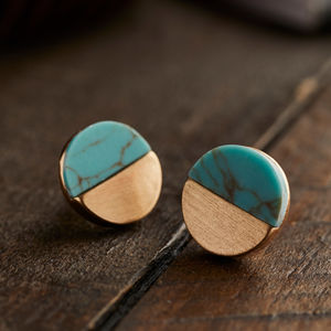 Circular Gold And Turquoise Stud Earrings - gold