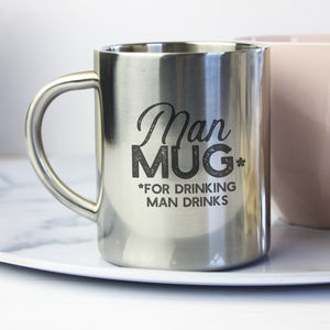 'Man Mug' Silver Mug For Him