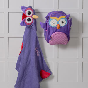 Personalised Olive The Owl Hooded Towel And Backpack
