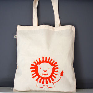 Friendly Little Lion Organic Cotton Tote Bag - shoulder bags