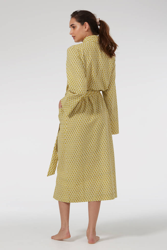 ladies cotton dressing gown in yellow print by caro london. Black Bedroom Furniture Sets. Home Design Ideas