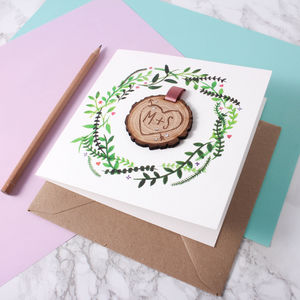 Engraved Tree Slice Keepsake Card - wedding cards