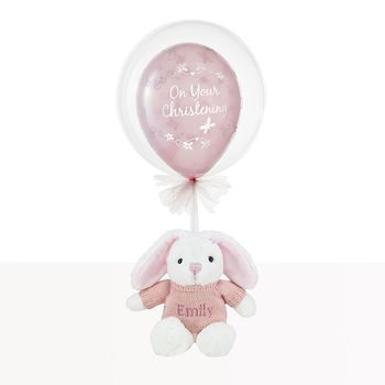 Christening Day Balloon With Personalised Pink Bunny