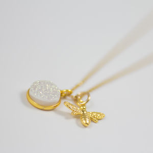 Gold Bee Druzy Quartz Charm Necklace - necklaces & pendants