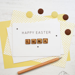 Personalised Happy Easter Wooden Tiles Card