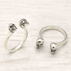 Adjustable Silver Skull Ring - rings