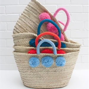 Colour Wrap Pom Pom Basket - storage baskets