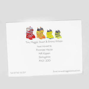 Personalised Ski Boot Family Change Of Address Card