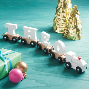 White Wooden Name Train - stocking fillers