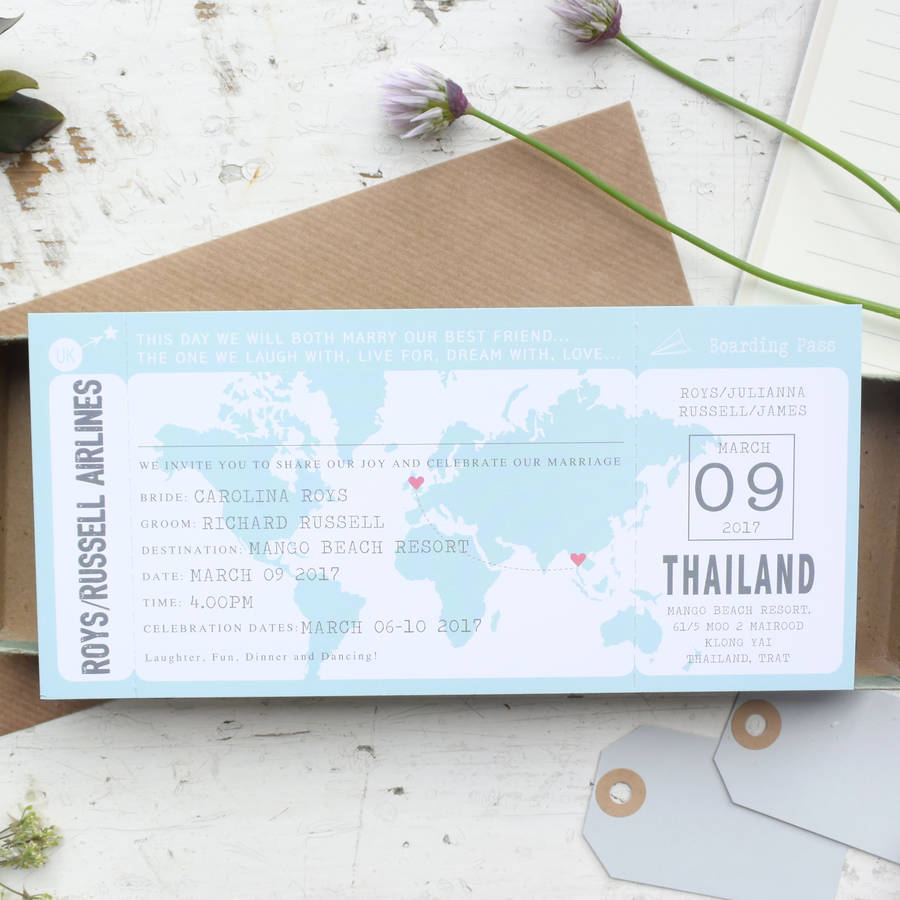 Boarding Pass Map Wedding Invitation