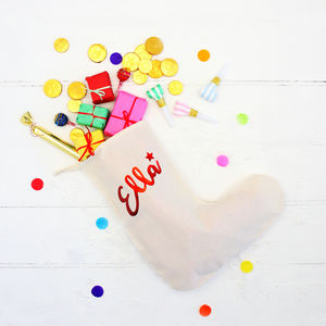 Personalised Foil Name Christmas Stocking