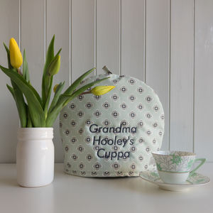 Personalised Embroidery Garden Green Tea Cosy - tea & coffee cosies